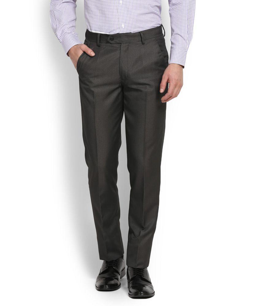 Peter England Black Slim -Fit Flat Trousers