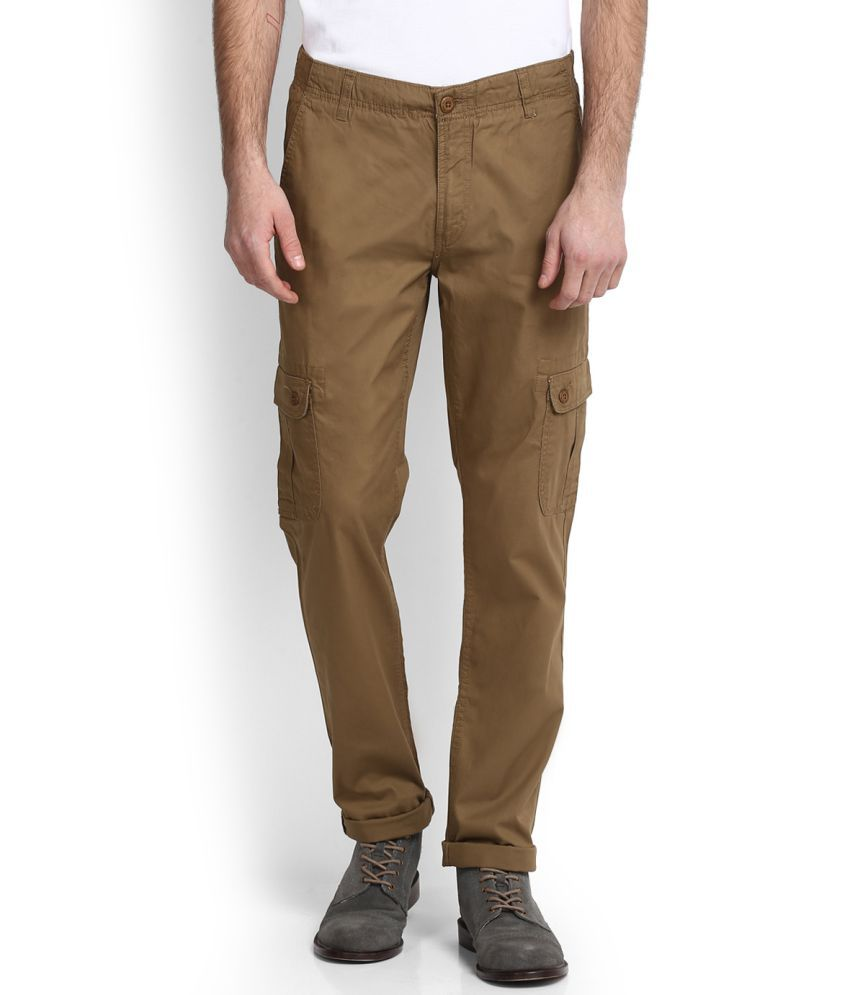 U.S. Polo Assn. Brown Slim Flat Cargos