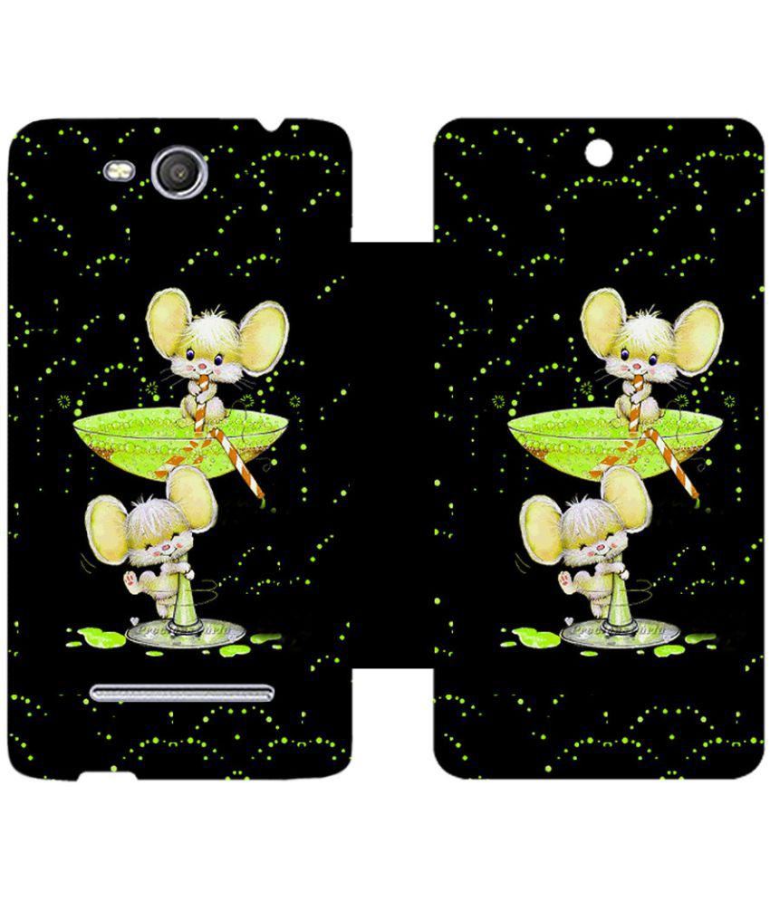 Micromax Canvas Juice 3 Flip Cover by Skintice - Black