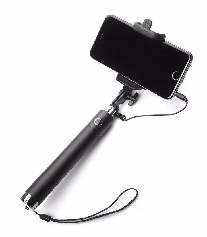 f160d13fc03 ... Pluto Plus Black Selfie Stick with Auxillary Cable - Assorted color ...