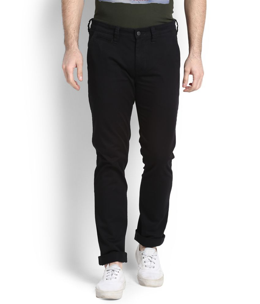 Lee Black Regular Flat Trousers