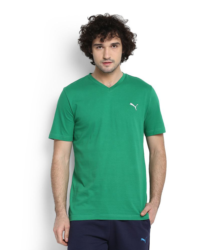 Puma Green V-Neck T-Shirt