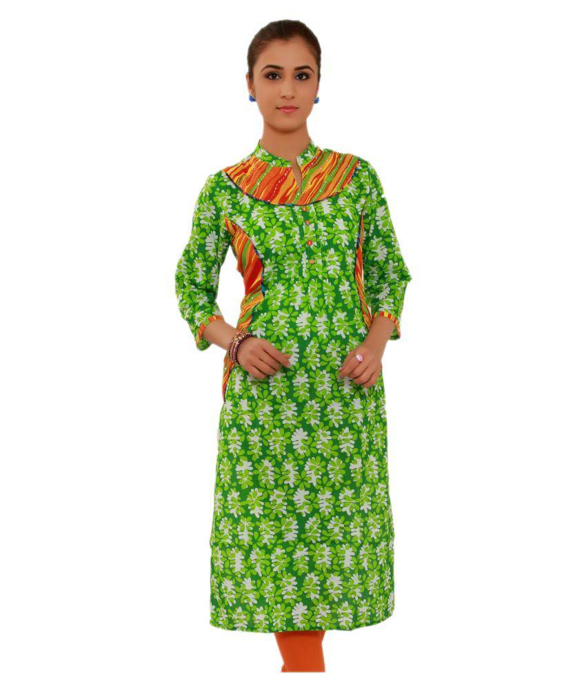 Evergreen Green Cotton Straight Kurti