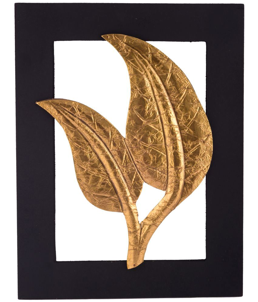 Giftadia Gold Leaf Wooden Abstract Artpiece Wall Hanging Wood Painting With Frame Single Piece