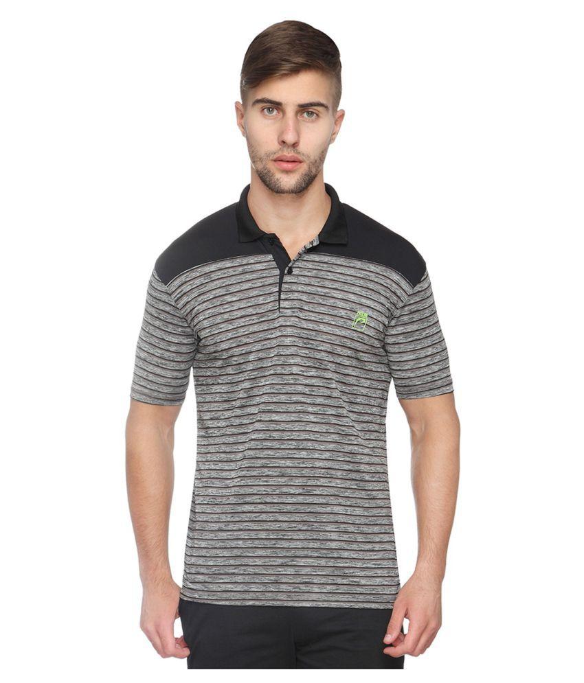 Proline Grey Cotton Blend Polo T-shirt