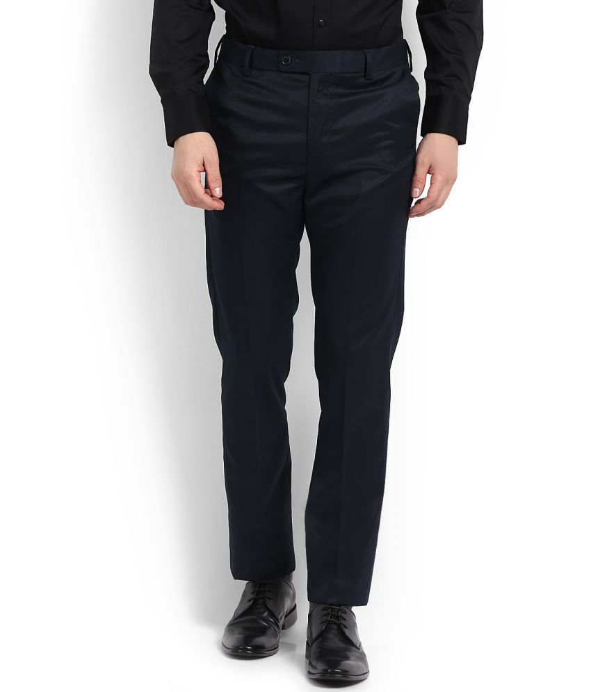 Arrow Navy Blue Slim -Fit Flat Trousers