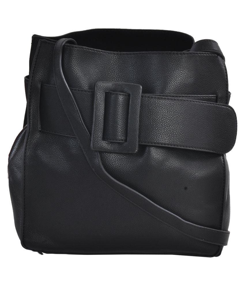 Picco Massimo Black Faux Leather Sling Bag