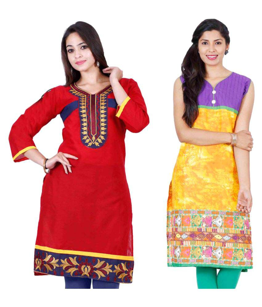 Urban Vastra Multicoloured Rayon Straight Kurti