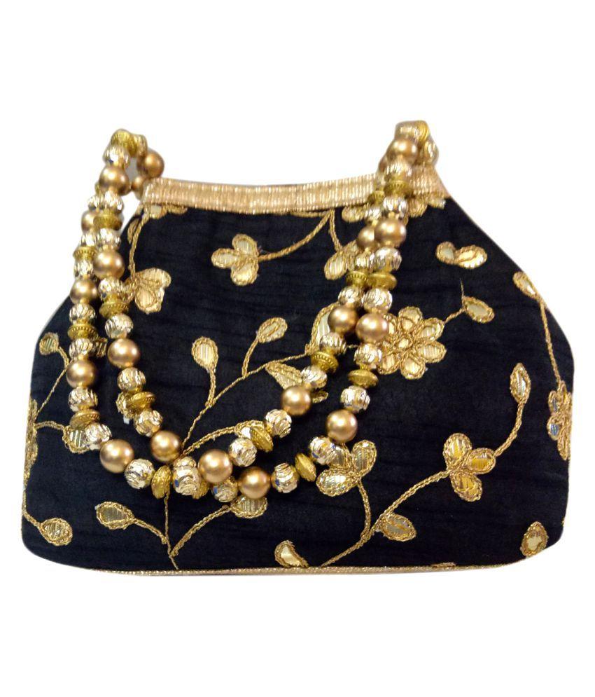 Vardhini Black Silk Box Clutch