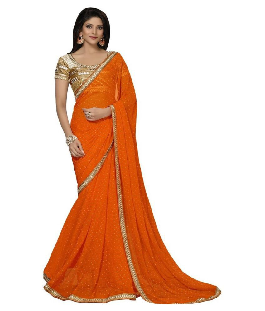 Fedor Life Co. Orange Georgette Saree