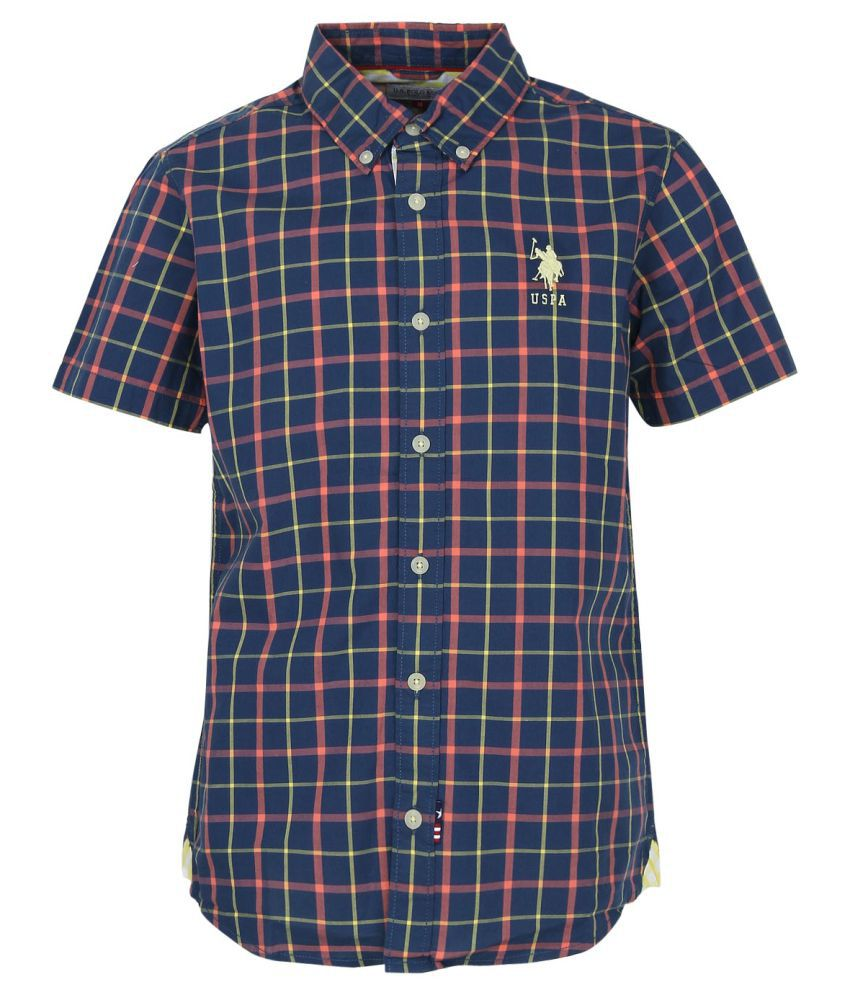 5a3f065a6 U.S.Polo Assn. Y/D Check Shirt-Half-Uspa Blue - Buy U.S.Polo Assn. Y/D Check  Shirt-Half-Uspa Blue Online at Low Price - Snapdeal