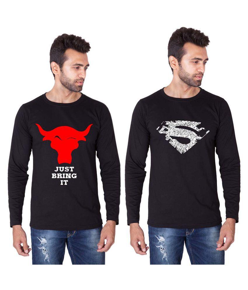 Veirdo Black Round T-Shirt Pack of 2