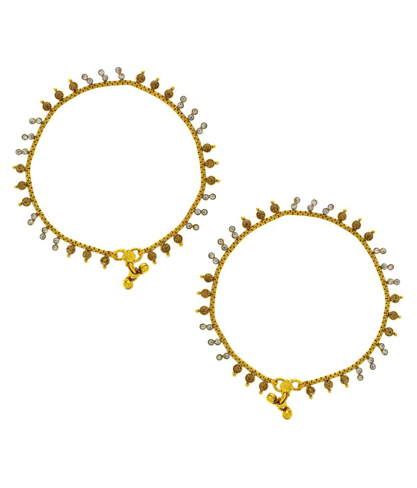 Anuradha Art Golden Colour Designer Classy Traditional Anklet for Women