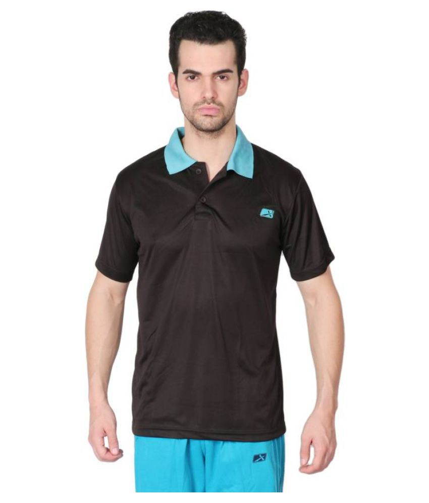 Vector X Solid Men's Polo Neck Black T-Shirt