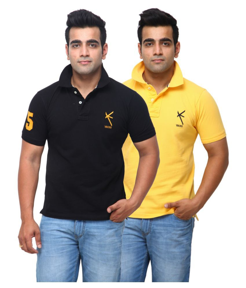 Yross Black Cotton Polo T-shirt Pack of 2