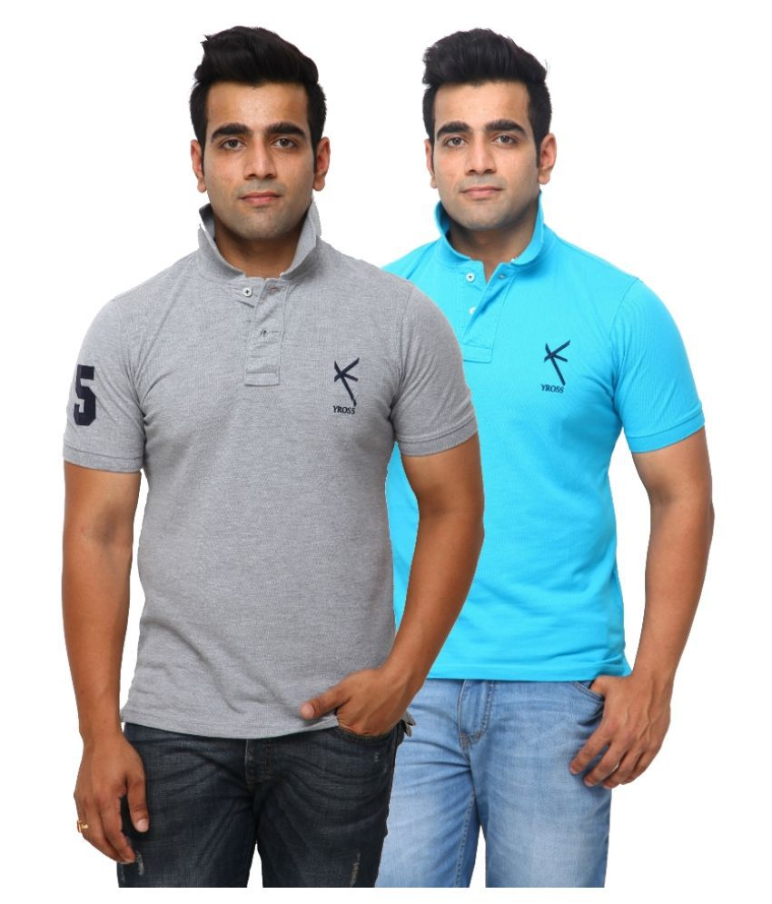 Yross Grey Cotton Polo T-shirt Pack of 2