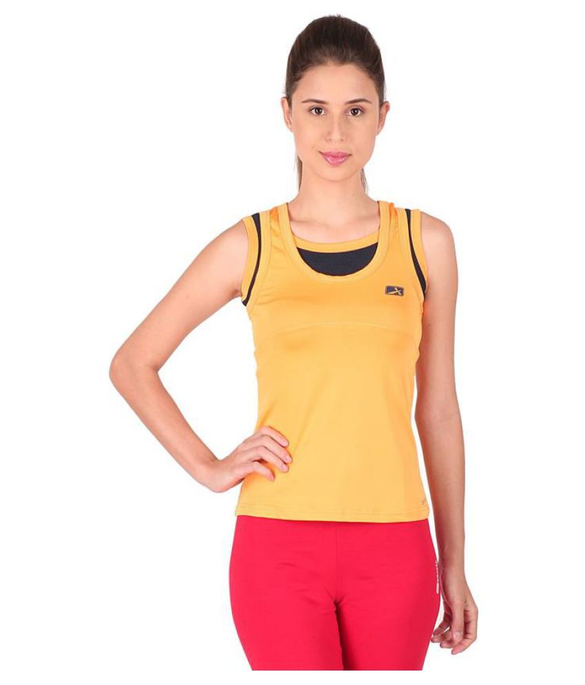 Vector X Solid Women's Round Neck Yellow T-Shirt