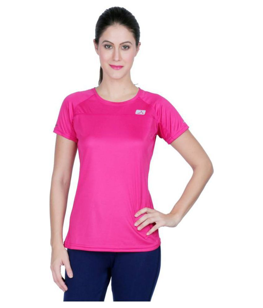 Vector X Solid Women's Round Neck Pink T-Shirt