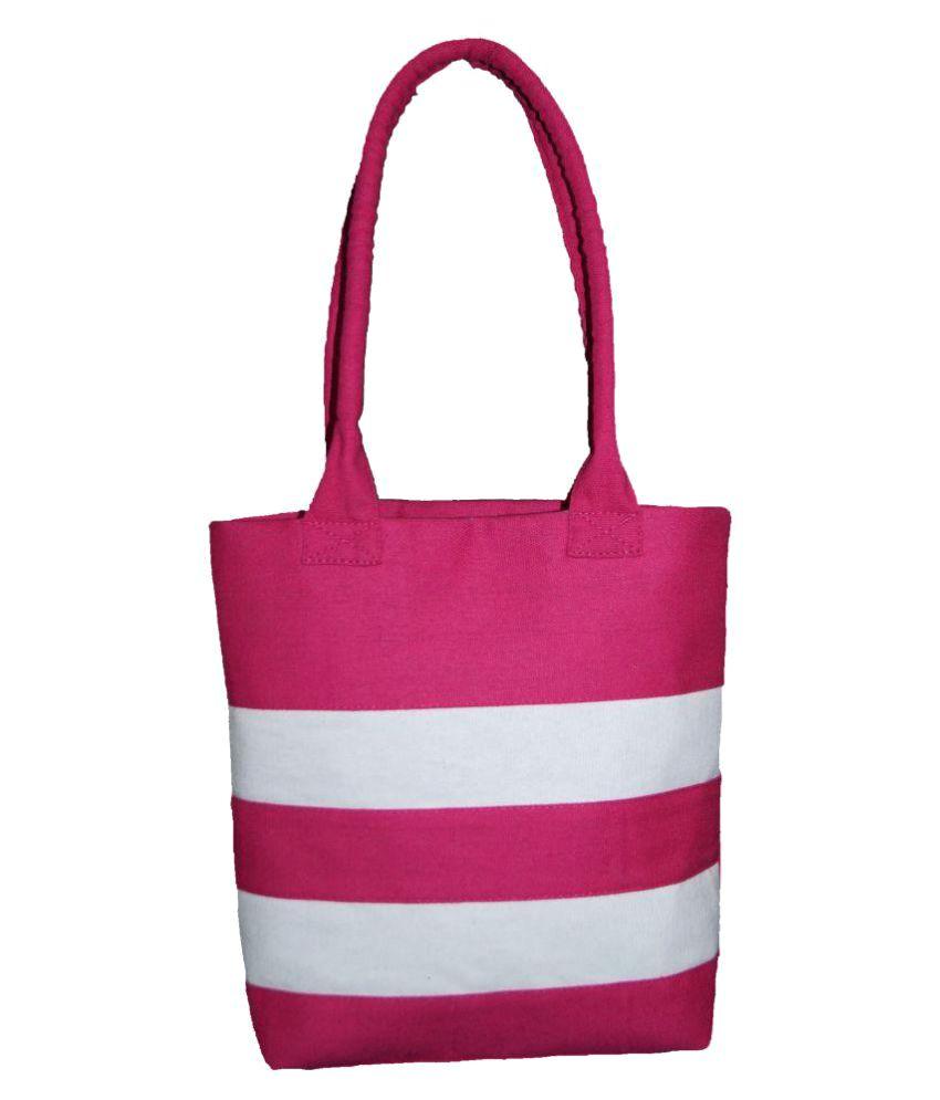 Jbi Pink Canvas Tote Bag