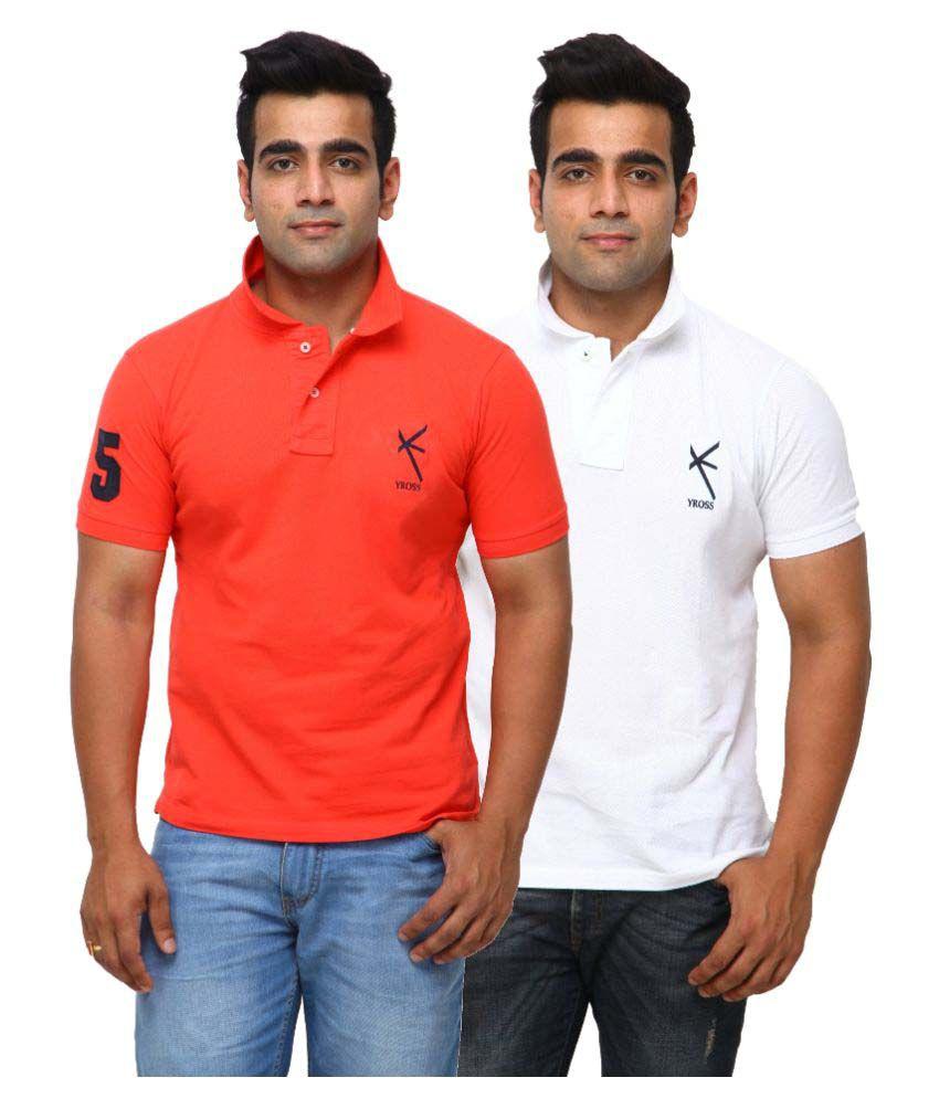 Yross Orange Cotton Polo T-shirt Pack of 2