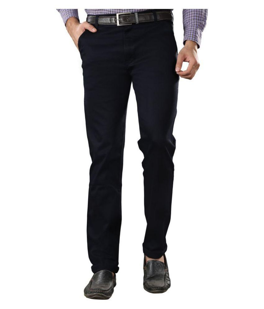 Villain Navy Blue Slim Flat Trousers