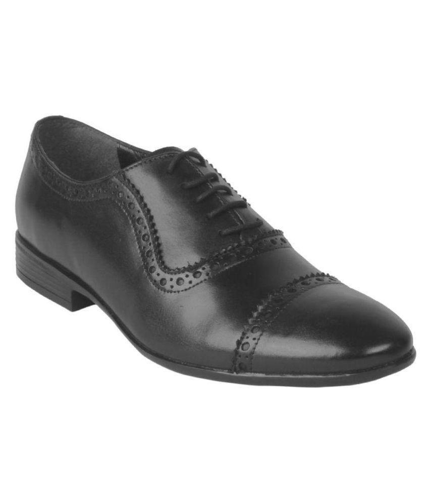 Salt N Pepper Black Brogue Genuine Leather Formal Shoes