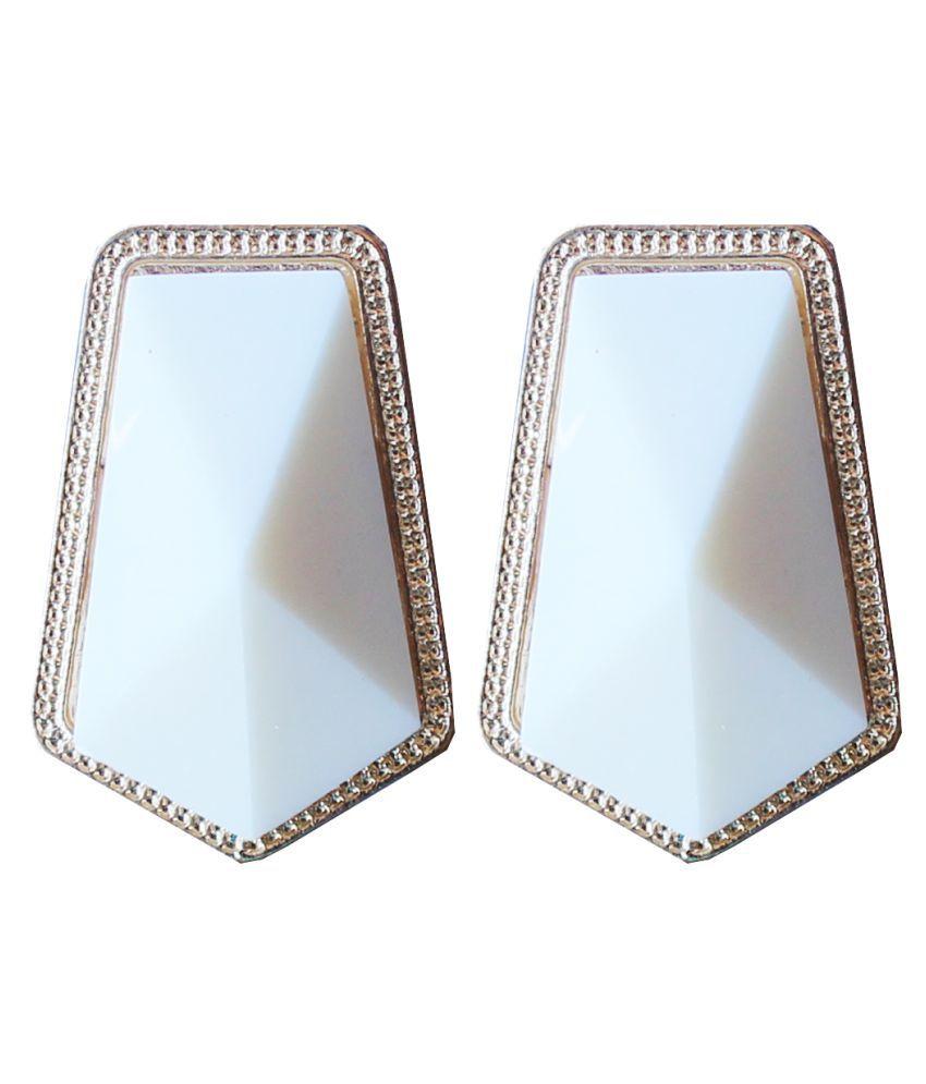 MoKanc Dwani White Stud Earrings With Golden Outline