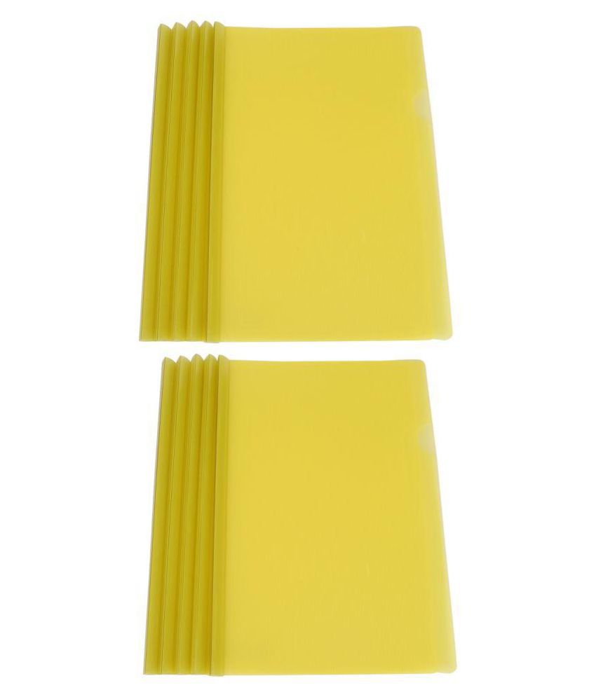 Dataking Polypropylene Stick File With Line Embossing (Set Of 10, Yellow)