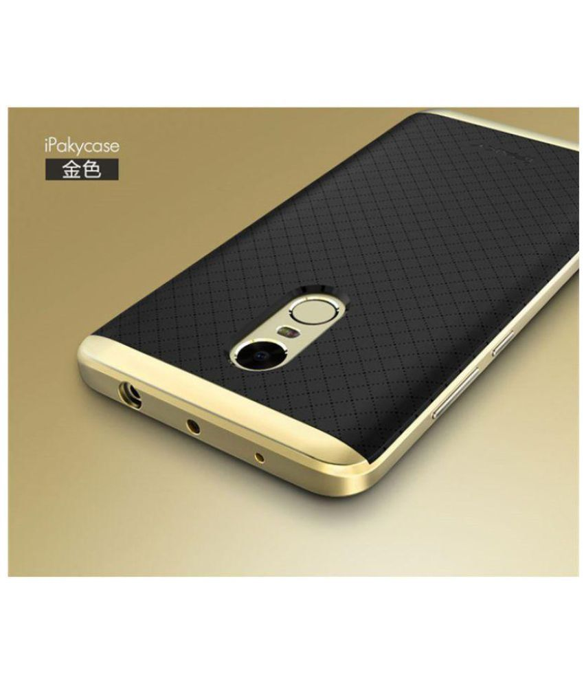 Xiaomi redmi note 4 shock proof case ipaky golden plain back covers online at low prices - Xiaomi redmi note 4 case ...