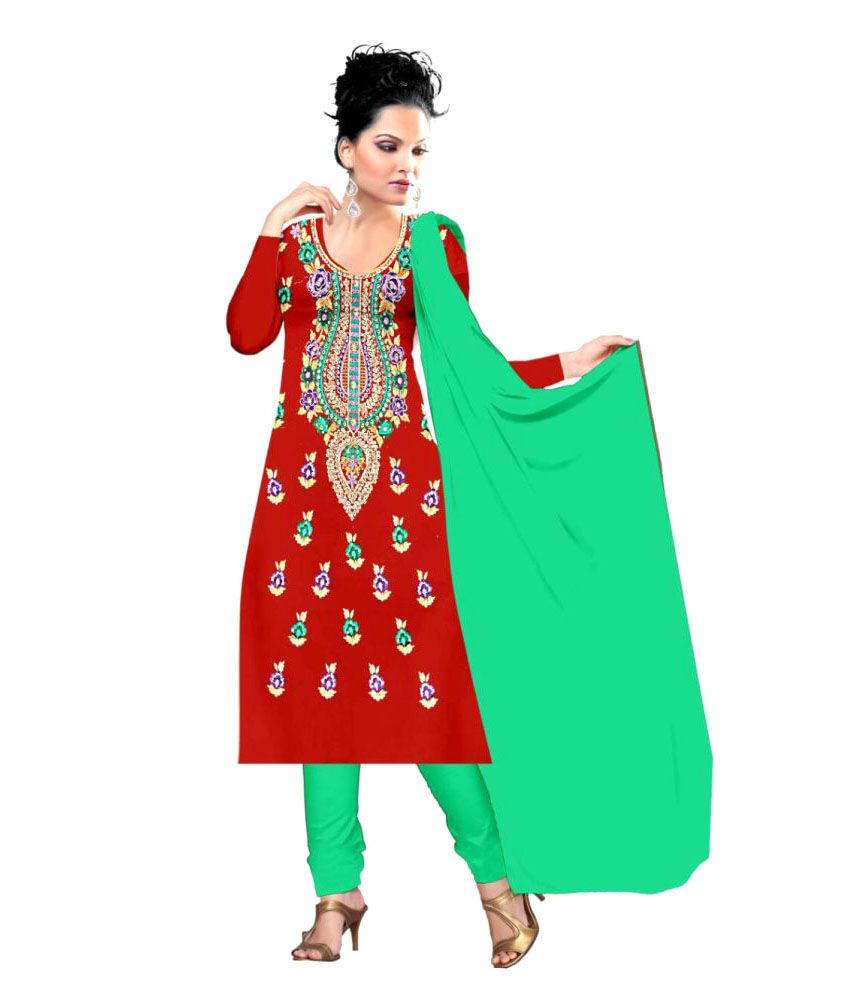 Amardeep Creation Red Cotton Dress Material