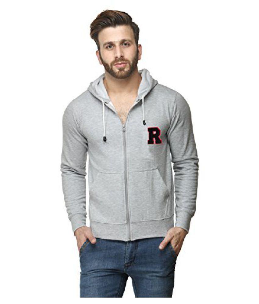 Cotton Blend Mens Sweatshirt With Zip Hood Grey Milange