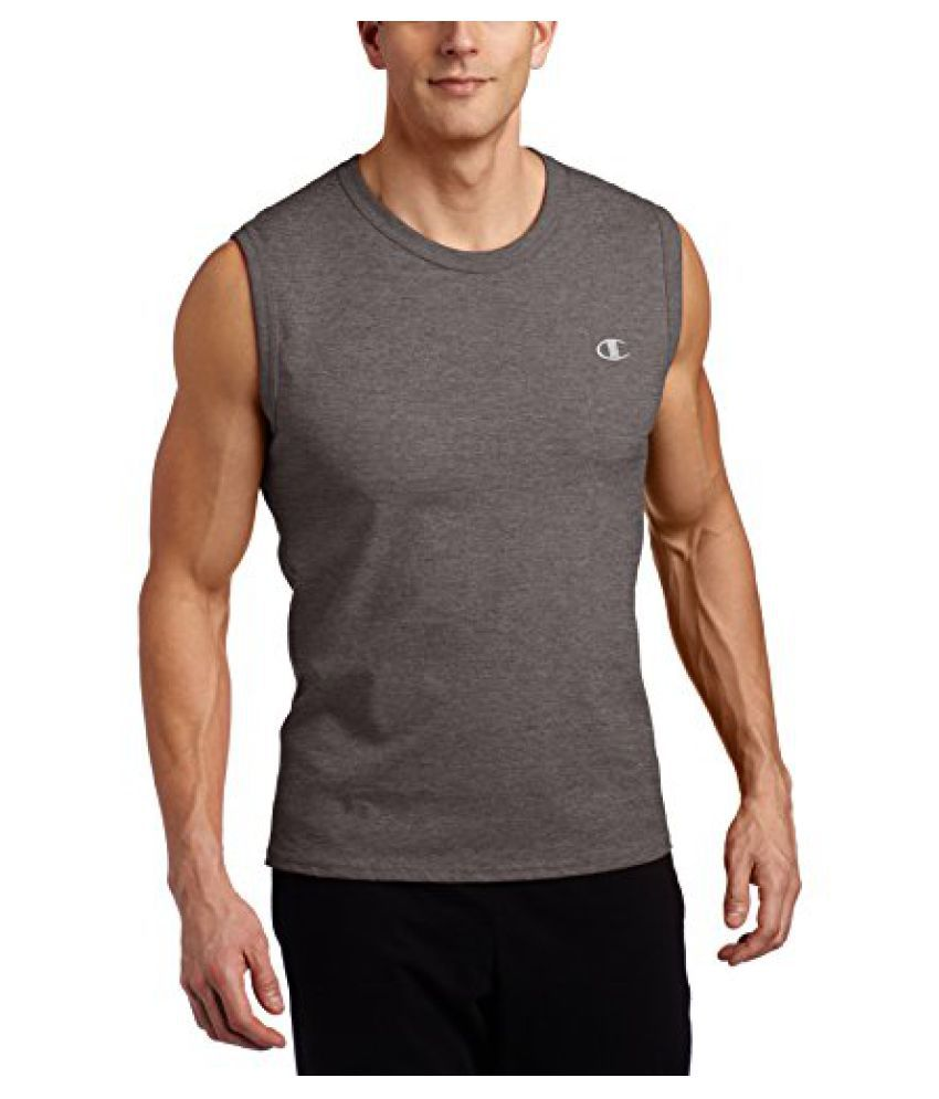 Champion Mens Jersey Muscle T-Shirt, Granite Heather, X-Large