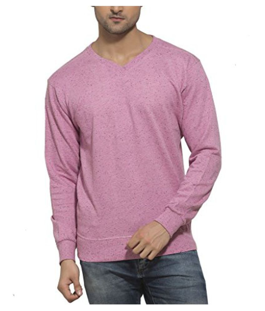 Clifton Men's Neppy Melange Sweat Shirt - V-Neck - Cool Pink