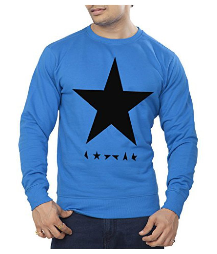 Clifton Mens Printed Cotton Sweat Shirt R-Neck-Royal Blue-Black