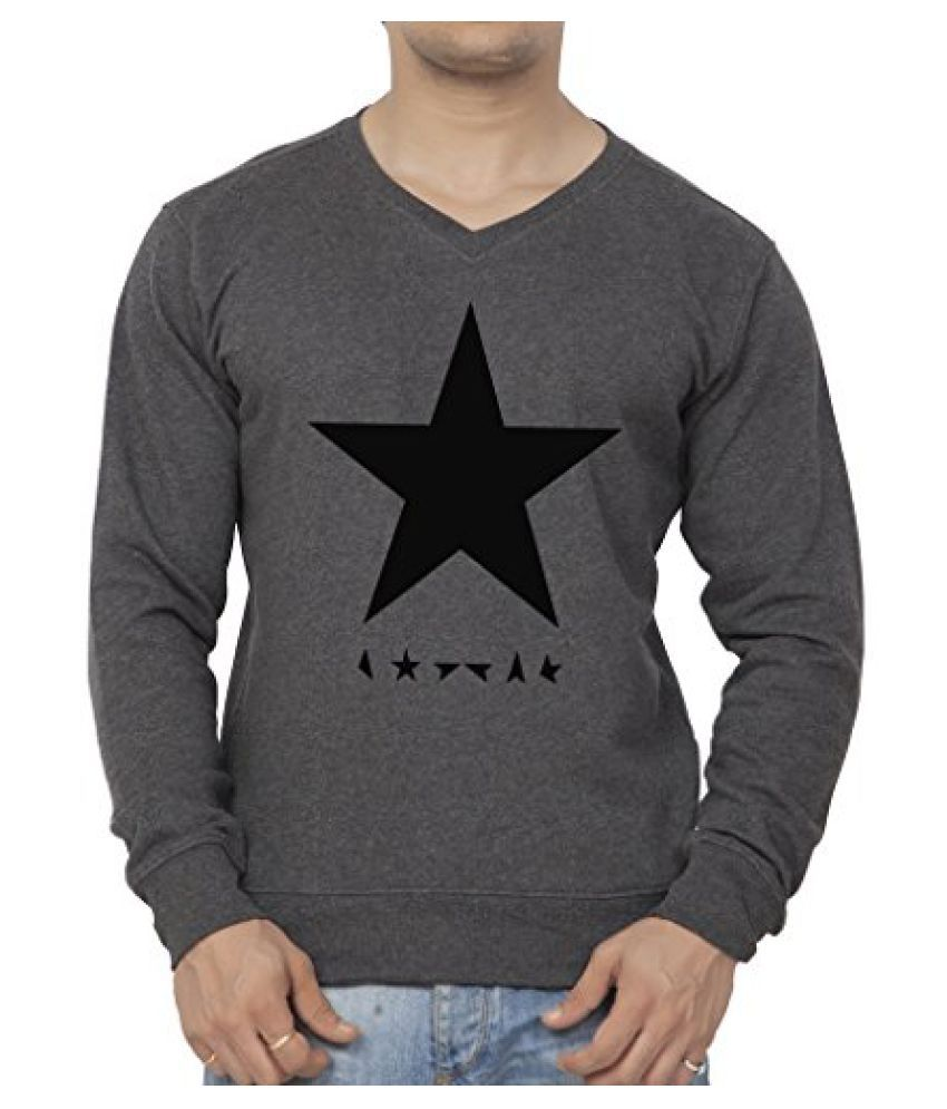 Clifton Mens Printed Cotton Sweat Shirt V-Neck-Charcoal Melange-Black