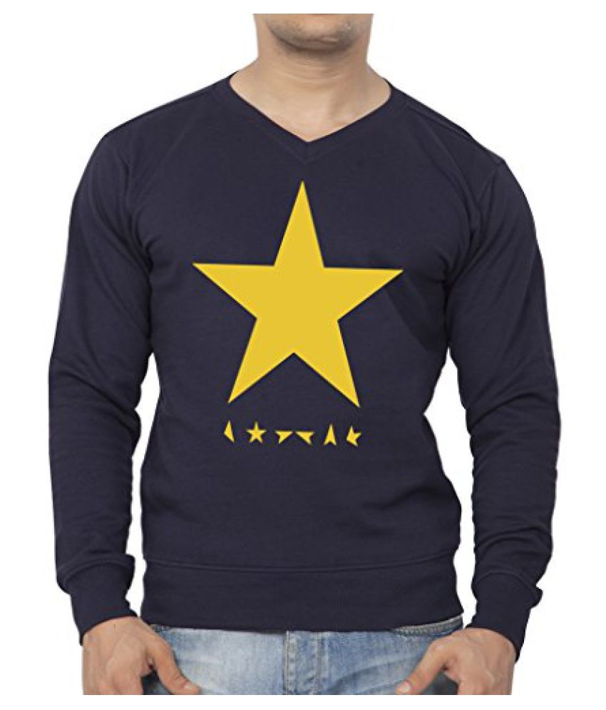 Clifton Mens Printed Cotton Sweat Shirt V-Neck-Navy-Yellow Star