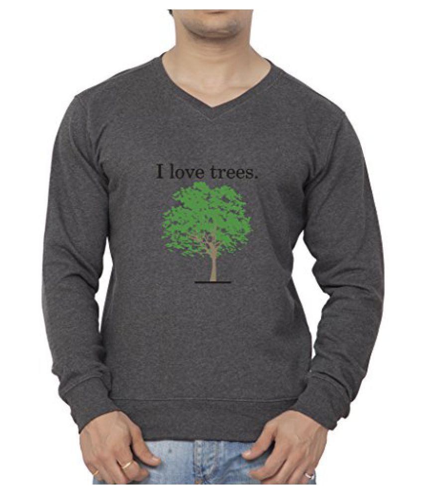 Clifton Mens Printed Cotton Sweat Shirt V-Neck-Charcoal Melange-I Love Tree
