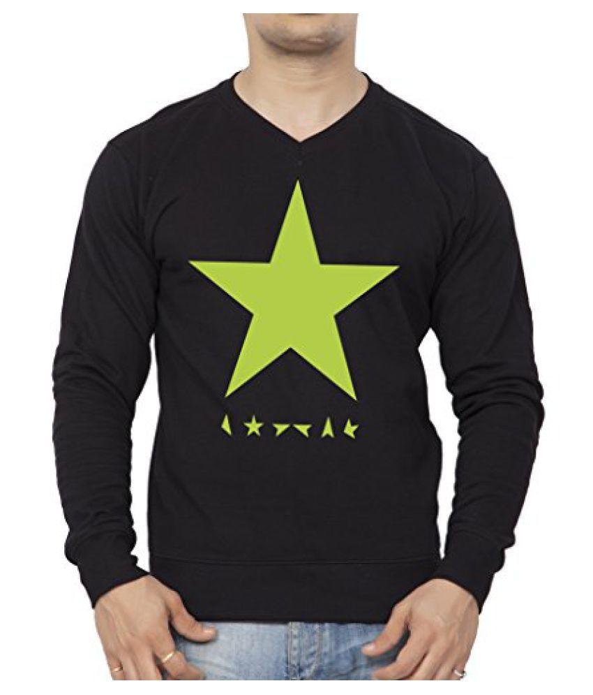 Clifton Mens Printed Cotton Sweat Shirt V-Neck-Black-Green Star