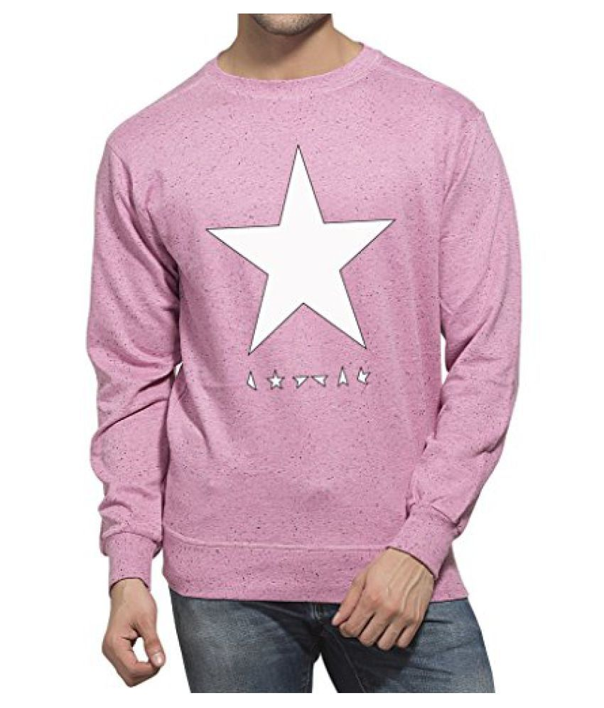 Clifton Mens Printed Neppy Melange Sweat Shirt R-Neck-Cool Pink-White Star
