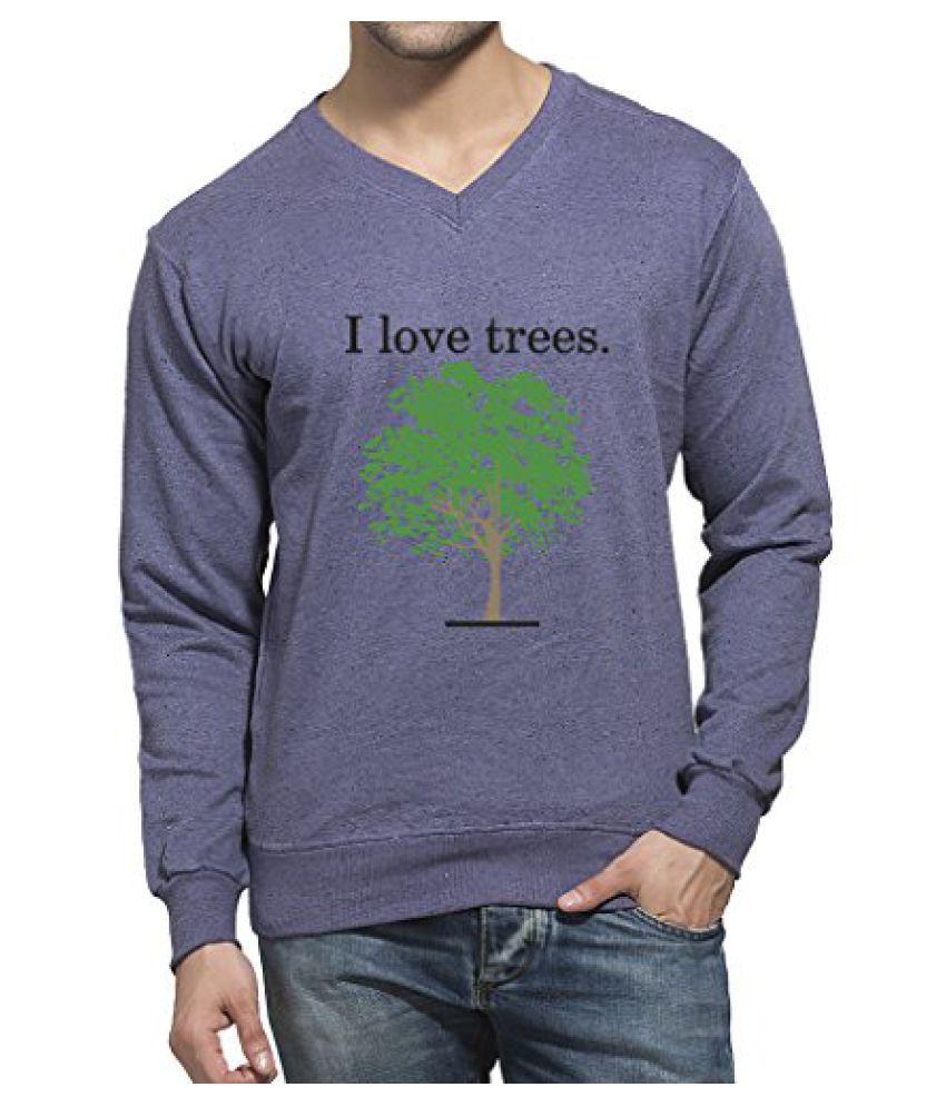 Clifton Mens Printed Neppy Melange Sweat Shirt V-Neck-Lavender-I Love Tree