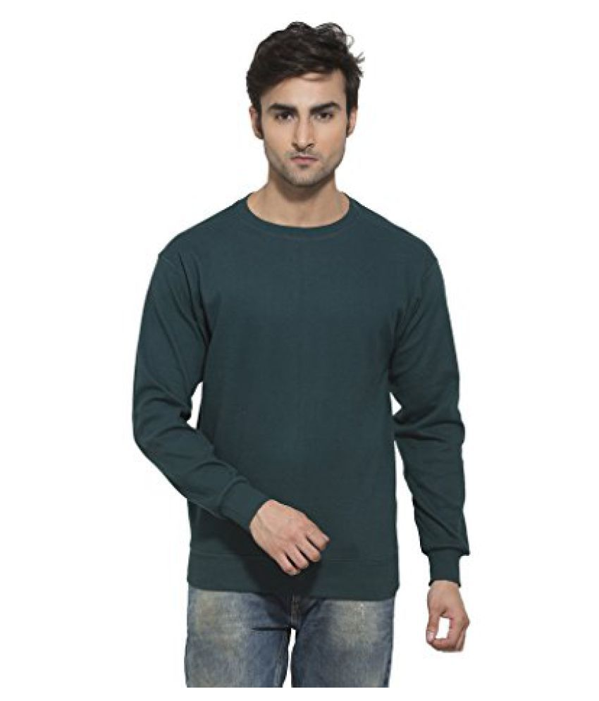 Clifton Mens Ribbed Sweat Shirt - R-Neck - Bottle Green - Large