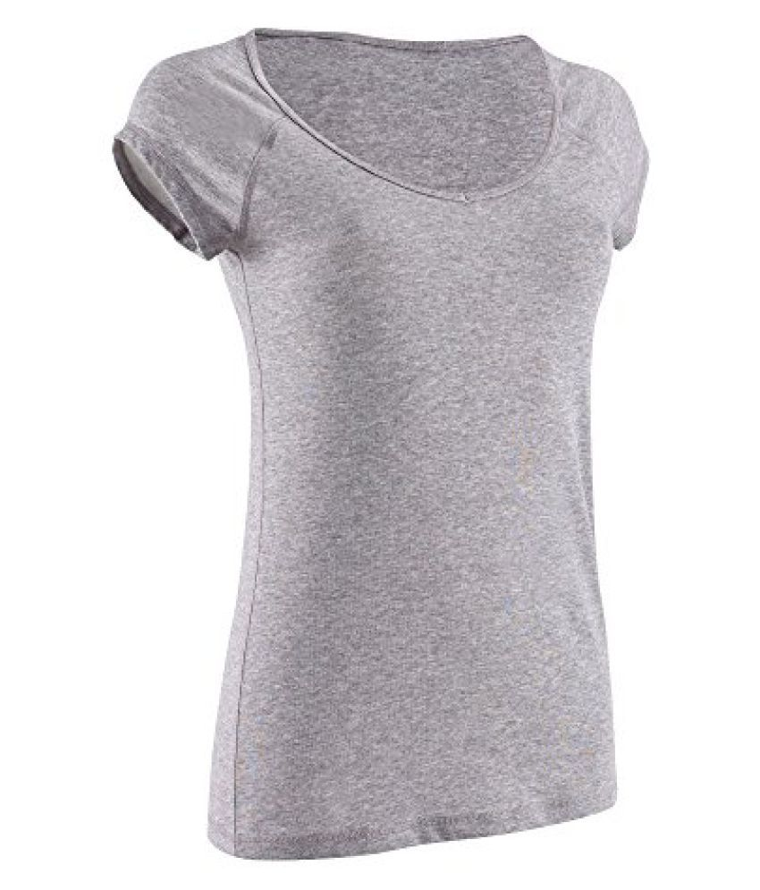 DOMYOS ACTIVE WOMENS SHORT-SLEEVED SLIM-FIT FITNESS T-SHIRT - MID MOTTLED GREY