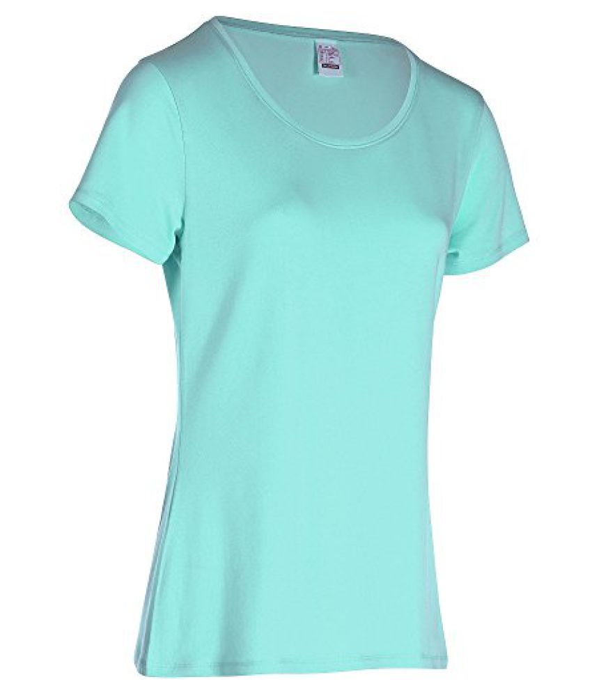 DOMYOS ACTIVE WOMENS SHORT-SLEEVED REGULAR-FIT FITNESS T-SHIRT - TURQUOISE