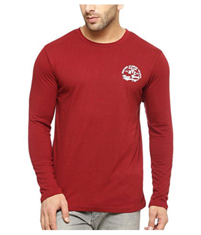 Gritstones Round Neck Full Sleeve T Shirt GSFSPNTNYTSHT1327MRN
