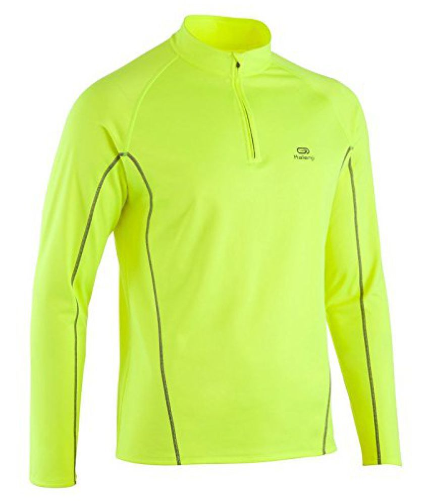 KALENJI EKIDEN MEN'S WINDPROOF RUNNING JERSEY - YELLOW GREY