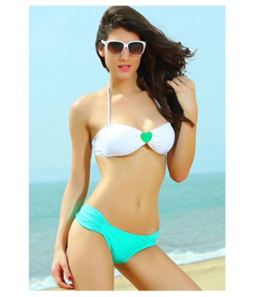 N-Gal Heart Embellishment Bikini Top and Ruched Bottom Swimwear, NG40630/ Swimming Costume