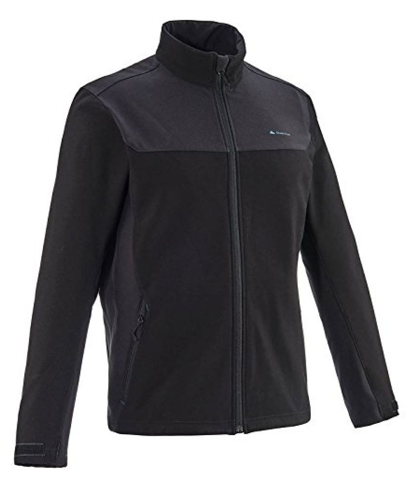 QUECHUA FORCLAZ 100 MEN'S WARM SOFTSHELL JACKET - BLACK
