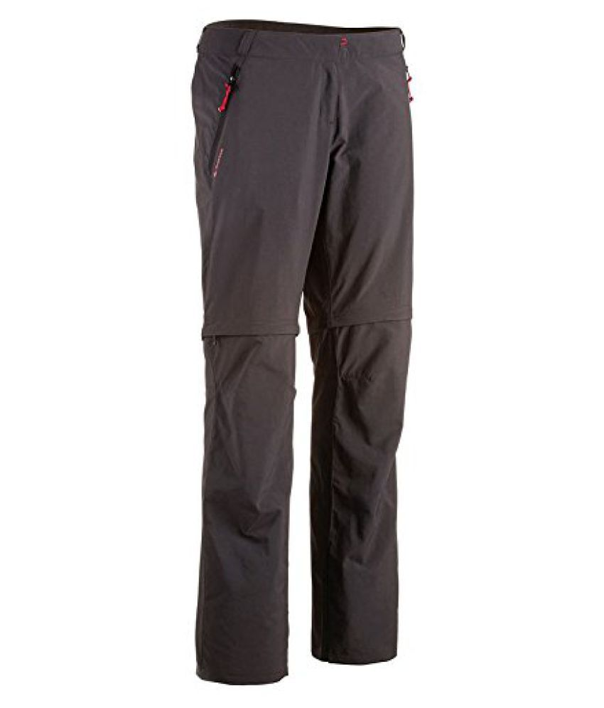 QUECHUA FORCLAZ 100 WOMEN'S CONVERTIBLE WALKING TROUSERS - BLACK