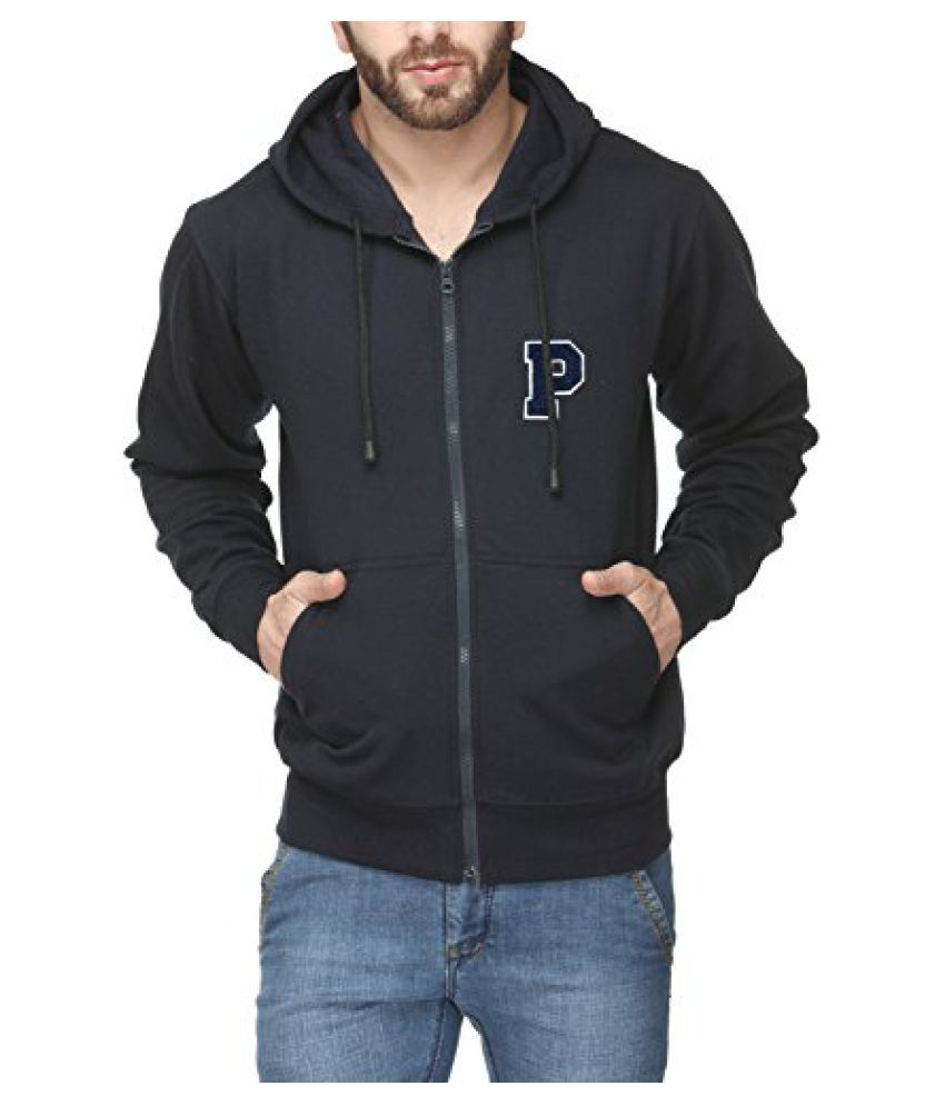 Scott Men's Premium Cotton Flocking Letter Pullover Hoodie Sweatshirt WITH Zip - Navy Blue