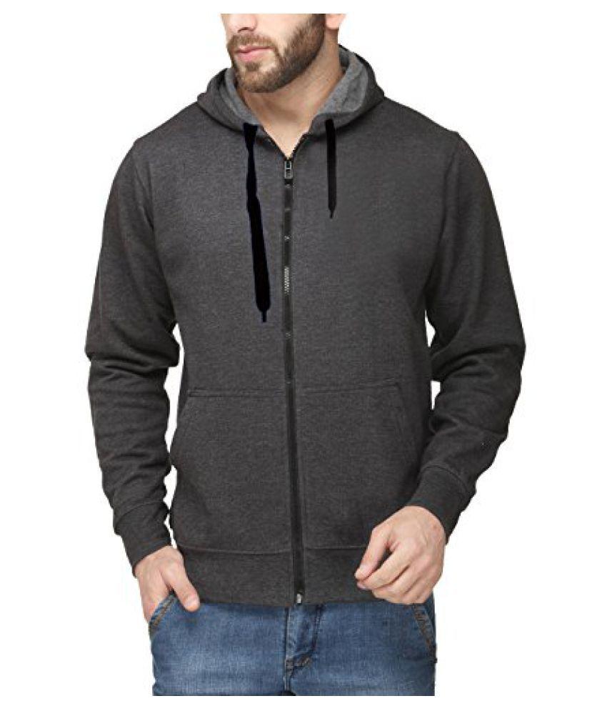 Scott Men's Premium Cotton Pullover Hoodie Sweatshirt with Zip - Charcoal Grey - sshz1-L